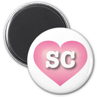 South Carolina SC pink fade heart 2 Inch Round Magnet