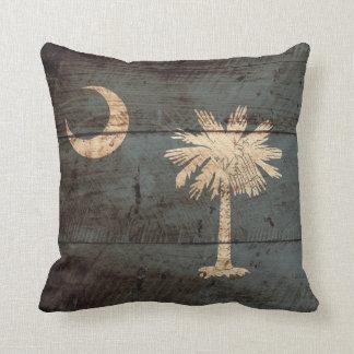South Carolina State Flag on Old Wood Grain Cushion