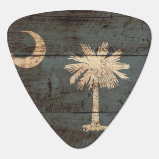 South Carolina State Flag on Old Wood Grain Guitar Pick