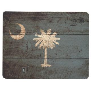 South Carolina State Flag on Old Wood Grain Journal