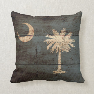 South Carolina State Flag on Old Wood Grain Throw Pillow
