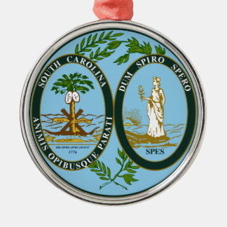 South Carolina State Seal Silver-Colored Round Decoration