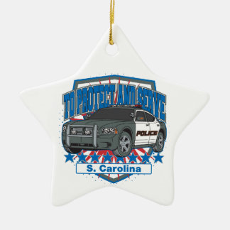 South Carolina To Protect and Serve Police Car Double-Sided Star Ceramic Christmas Ornament