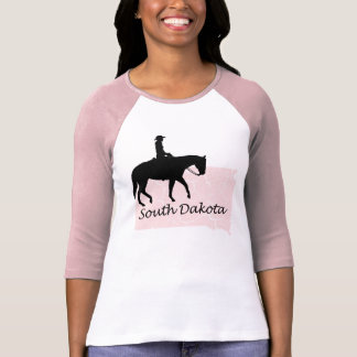 South Dakota Cowgirl Grunge Map Ladies Pink Raglan T-Shirt