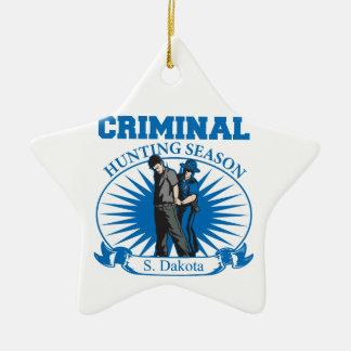 South Dakota Criminal Hunting Season Ceramic Star Decoration