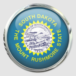 South Dakota Flag Glass Ball Round Sticker