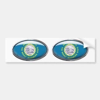 South Dakota Flag Glass Oval Bumper Sticker
