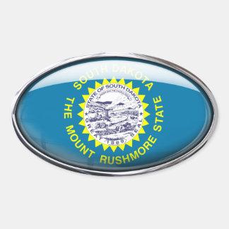 South Dakota Flag Glass Oval Oval Sticker