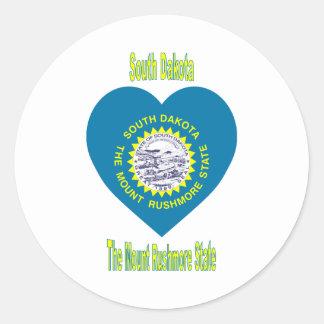 South Dakota Flag Heart Round Sticker