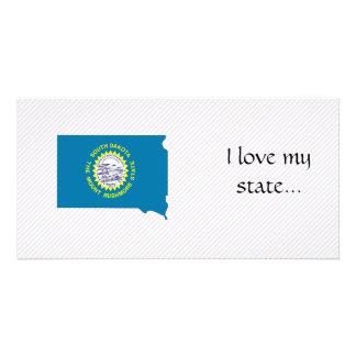 South Dakota Flag Map Picture Card