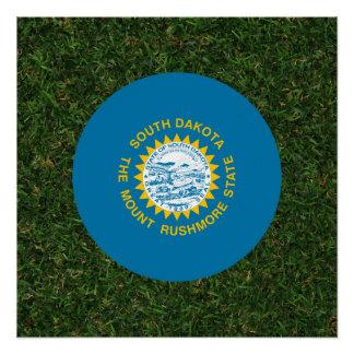 South Dakota Flag on Grass