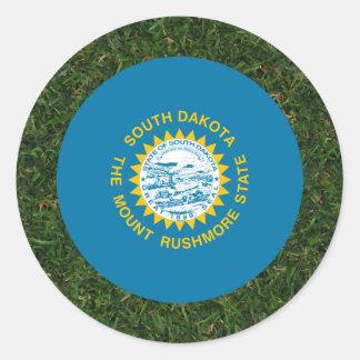 South Dakota Flag on Grass Round Sticker