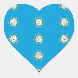 SOUTH DAKOTA Flag Pattern Heart Sticker