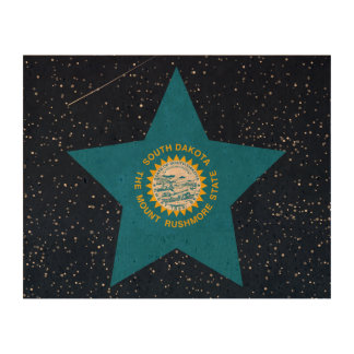 South Dakota Flag Star In Space Cork Paper Prints