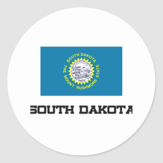 South Dakota Flag Round Stickers