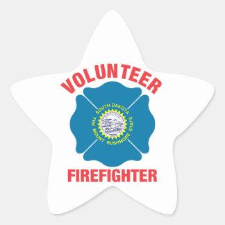 South Dakota Flag Volunteer Firefighter Cross Star Sticker