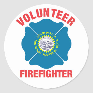 South Dakota Flag Volunteer Firefighter Cross Round Sticker