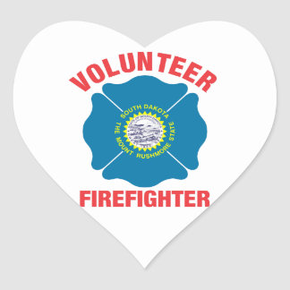 South Dakota Flag Volunteer Firefighter Cross Heart Sticker