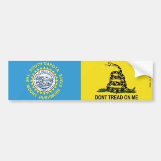 South Dakota & Gadsden Flags Bumper Sticker