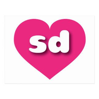 south dakota hot pink heart - mini love postcard