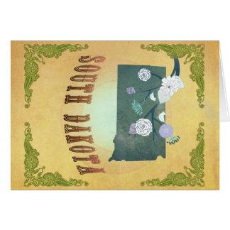South Dakota Map With Lovely Birds Card