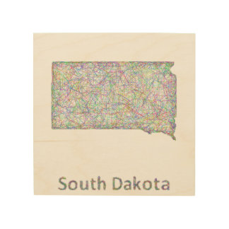 South Dakota map Wood Canvases