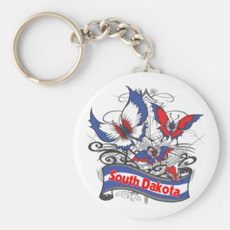 South Dakota Patriotism Butterfly Basic Round Button Key Ring