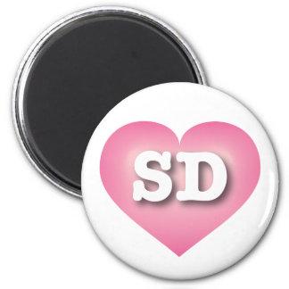 South Dakota pink fade heart 6 Cm Round Magnet