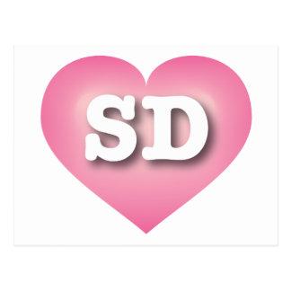 South Dakota pink fade heart - Big Love Postcard