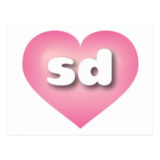 south dakota pink fade heart - mini love postcard