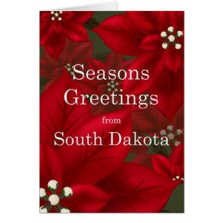 South Dakota Poinsettia Seasons Greetings Greeting Card
