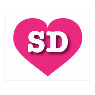 South Dakota SD hot pink heart Postcard