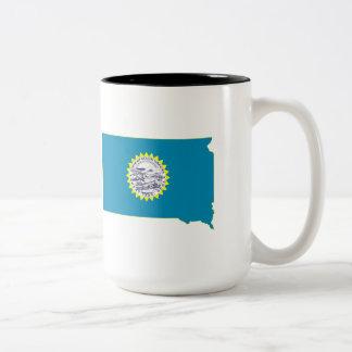 South Dakota State Flag and Map Coffee Mug
