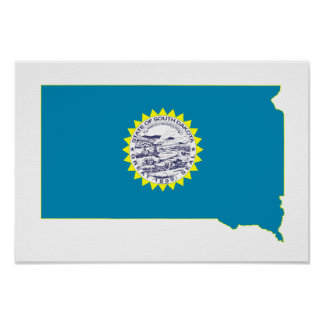 South Dakota State Flag and Map Poster