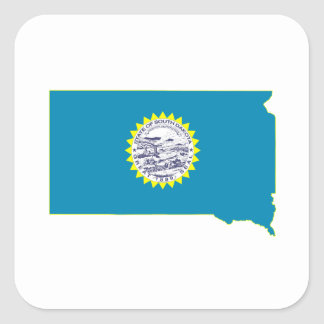 South Dakota State Flag and Map Square Stickers