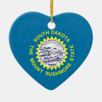 South Dakota State Flag Ceramic Heart Decoration