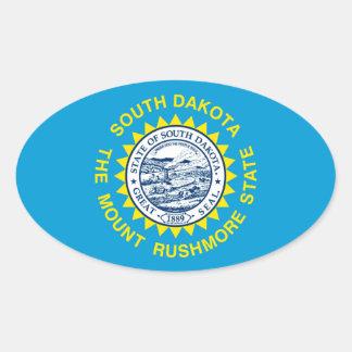 South Dakota State Flag Design Oval Sticker