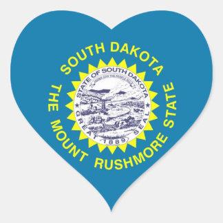 South Dakota State Flag Heart Sticker