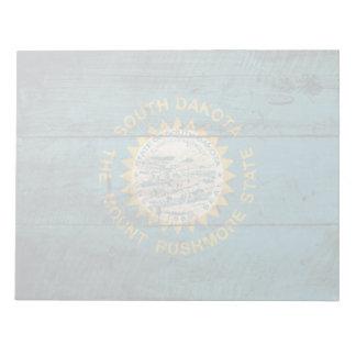 South Dakota State Flag on Old Wood Grain Notepad