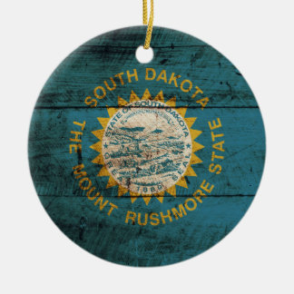 South Dakota State Flag on Old Wood Grain Round Ceramic Decoration