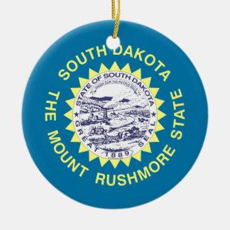 South Dakota State Flag Round Ceramic Decoration