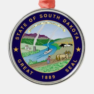 south dakota state flag united america republic sy Silver-Colored round decoration