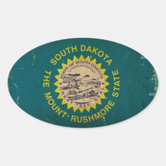 South Dakota State Flag VINTAGE Oval Sticker