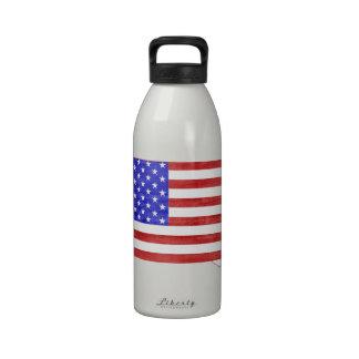 South Dakota USA flag silhouette state map Water Bottles