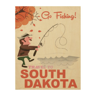 South Dakota vintage fishing vacation poster Wood Canvas