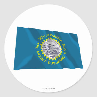 South Dakota Waving Flag Round Sticker