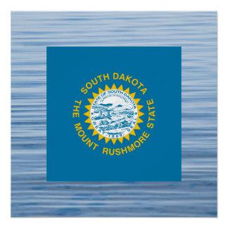 South Dakotan Flag Floating on water