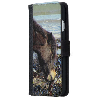South Devon Beach Dartmoor Pony Enjoying Seaweed iPhone 6 Wallet Case