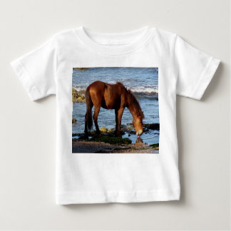 South Devon Beach Dartmoor Pony Licking Blue Sea Baby T-Shirt