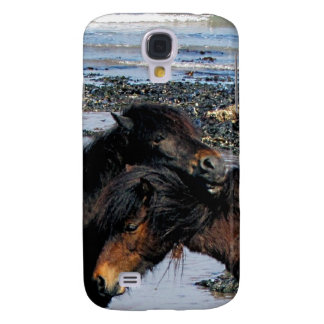 South Devon Beach Two Dartmoor Ponies Grooming Galaxy S4 Case